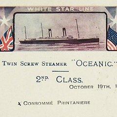 Menu RMS Oceanic - 1910